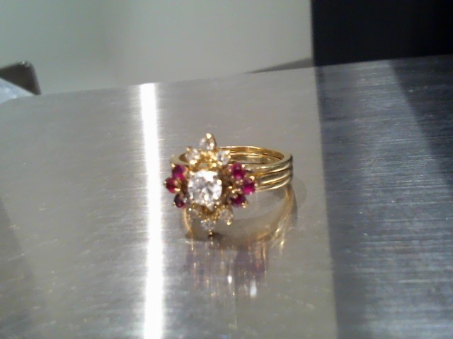 Ruby Lady's Stone & Diamond Ring 7 Diamonds .42 Carat T.W. 14K Yellow Gold 4.8g