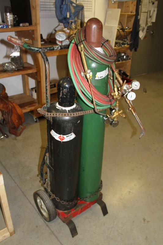 Full OXYGEN/ACETYLENE Welding Setup w/Cylinders Victor Airco Uniweld
