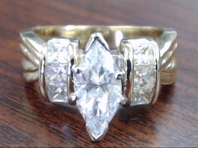 ESTATE MARQUISE CZ ENGAGEMENT WED RING REAL 10K GOLD 6.6g SZ 6.75