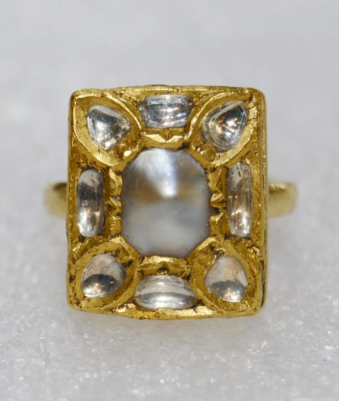 Vintage Custom 18K Yellow Gold Baroque Pearl & Polished Uncut Diamonds Ring sz 6