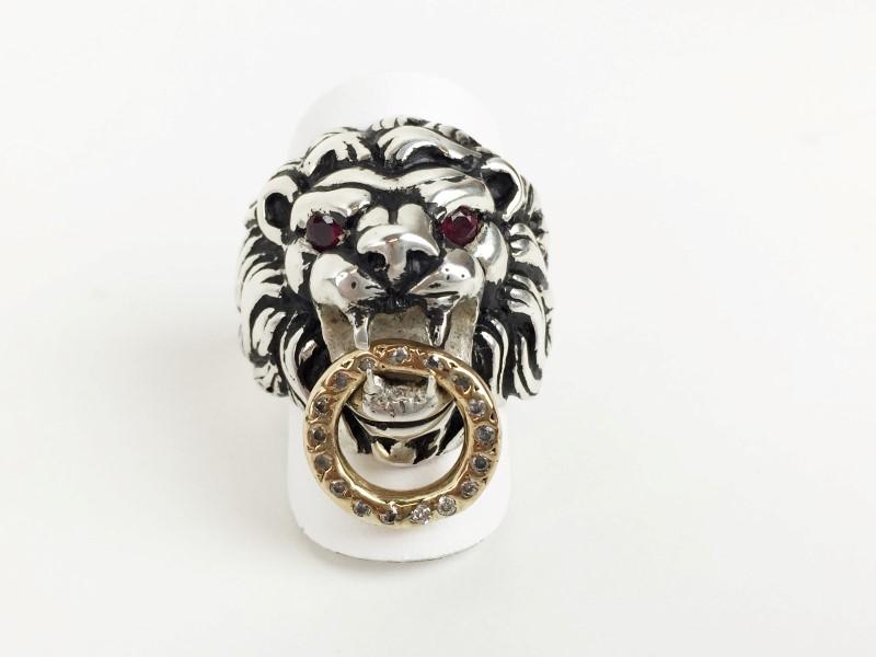 KING BABY .925 18K YG LIONS HEAD RUBY & DIAMOND RING
