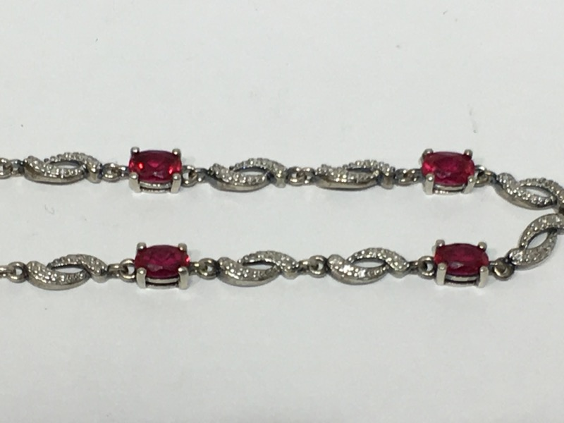 "7"" Sterling Silver Vintage Inspired Oval Cut Created Ruby Bracelet"