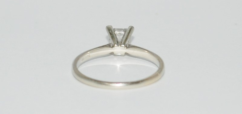 14K White Gold 4 Prong Set .65ct Princess Cut Diamond Solitaire Engagement Ring