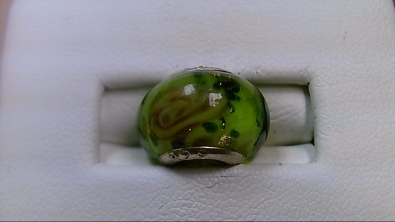 Glitter Green and Pink Glass Bead 925 Silver