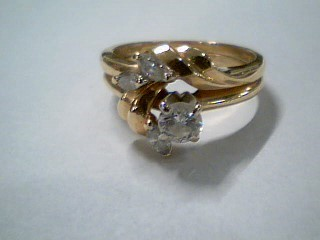 Lady's Diamond Wedding Set 4 Diamonds .40 Carat T.W. 14K Yellow Gold 4.9g