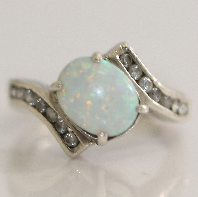 Sterling Silver Opal & CZ Bypass Shank Ring Size 5.75