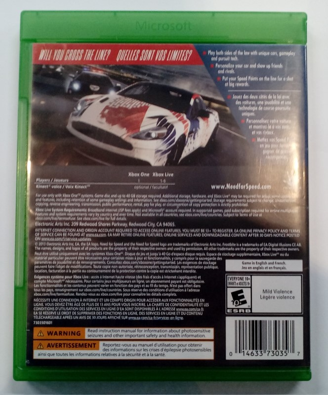 MICROSOFT XBOX ONE NEED FOR SPEED RIVAL
