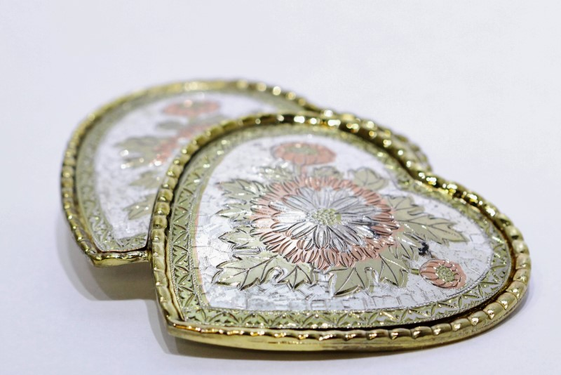 Tri-Tone Gold Colored Two Double Heart Large Floral Belt Buckle