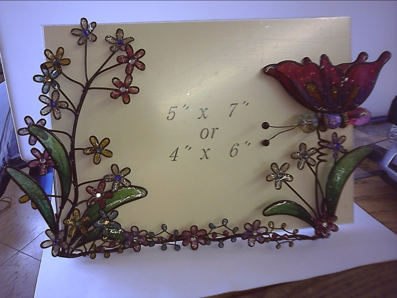 TRIANGLE MARKETING 99100 STAIN GLASS(LOOK) BUTTERFLY @ FLOWER PICTURE FRAME