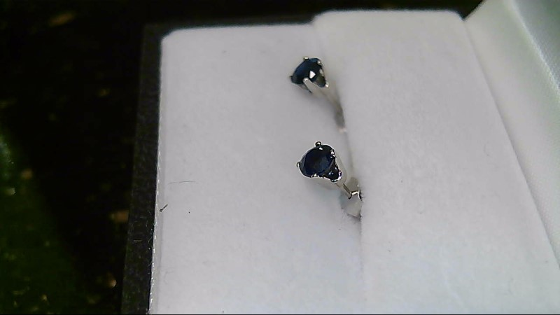 Synthetic Sapphire Gold-Stone Earrings 14K White Gold 0.32g