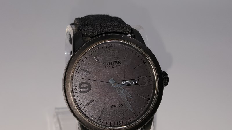 Men's Black Citizen Eco-Drive Canvas Band Watch