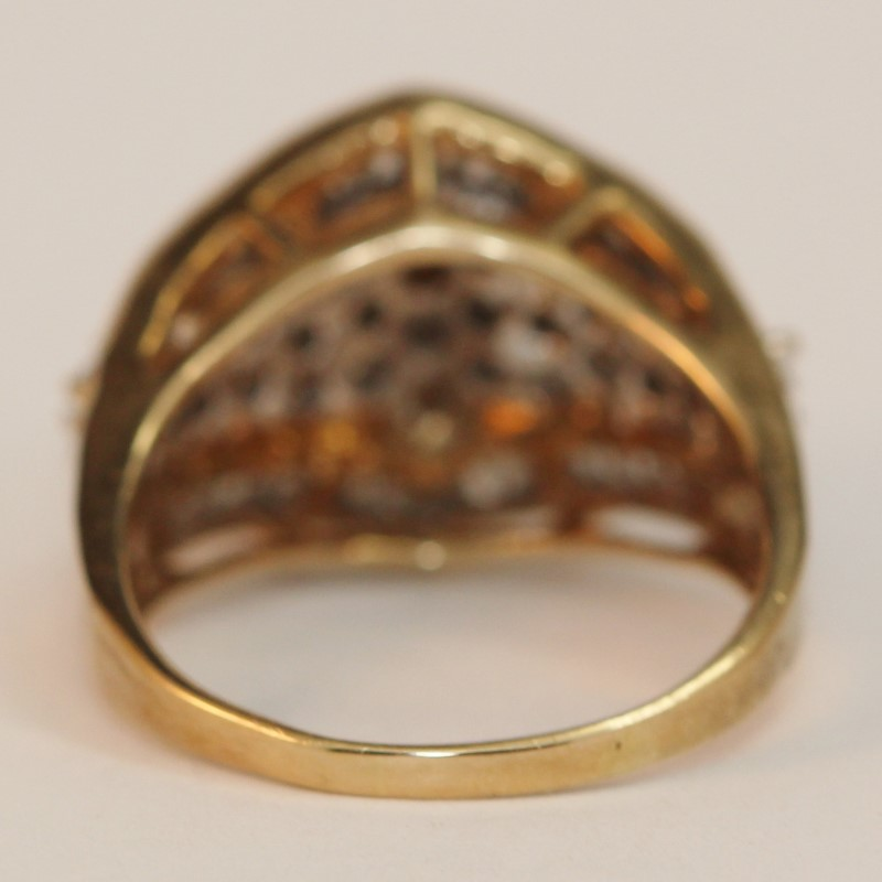 Vintage Inspired 10K Yellow Gold Diamond Cluster Ring Size 9.75