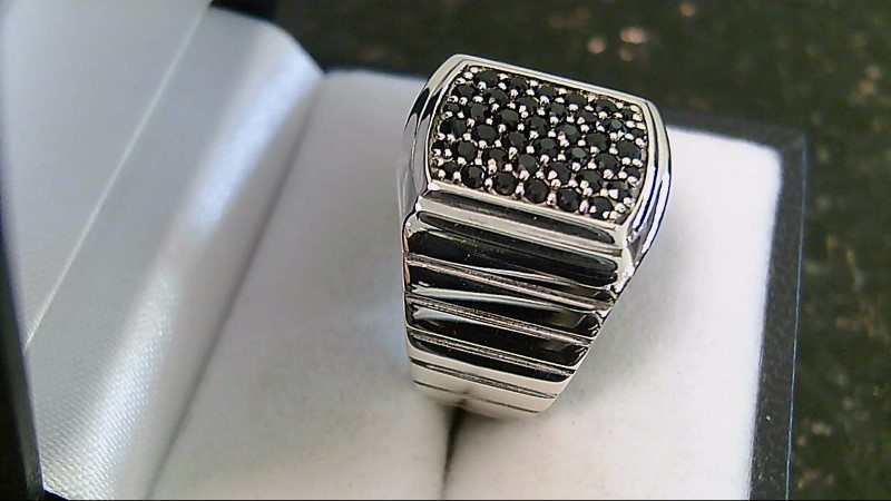 Black Diamond Sterling Silver Cluster Ring Size 8