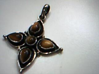 Brown Stone Silver-Stone Pendant 925 Silver 7.7g