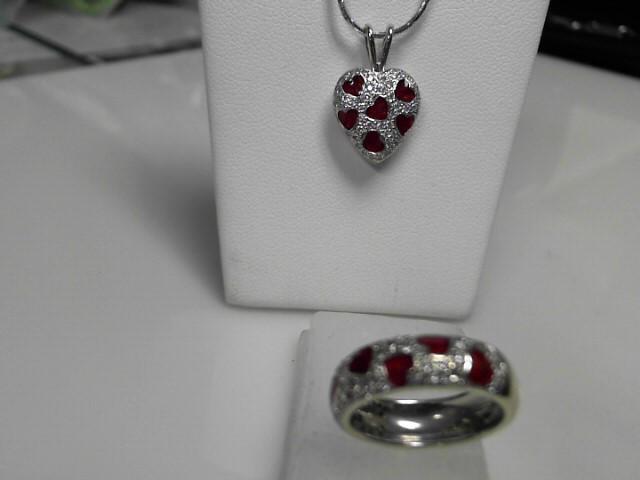 Hildago Diamond 14kt Heart Pavee Ring and Pendant Set