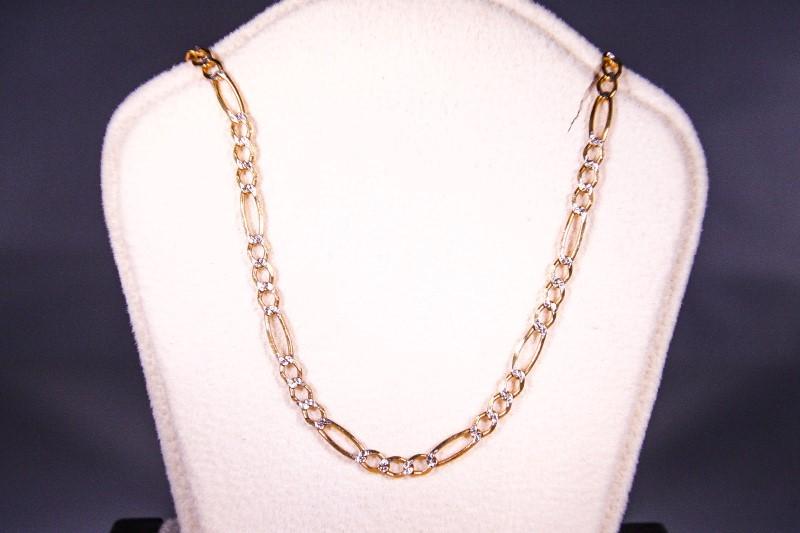 """18"""" Gold Figaro Chain 14K Yellow Gold 4.2g"""