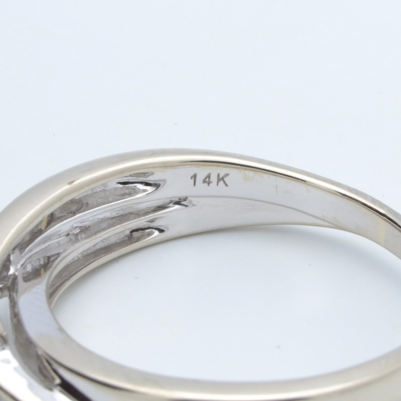 ESTATE DIAMOND RING SOLID 14K WHITE GOLD ENGAGEMENT INFINITY SIZE 10