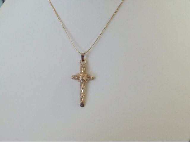VINTAGE CROSS PENDANT CHARM SOLID REAL 14K GOLD JESUS CHRIST EASTER