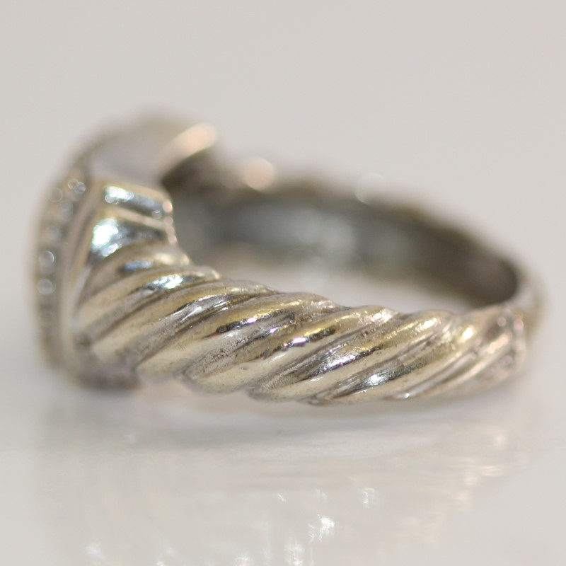 Twisted Sterling Silver with 14K Gold Square Center Ring Size 6