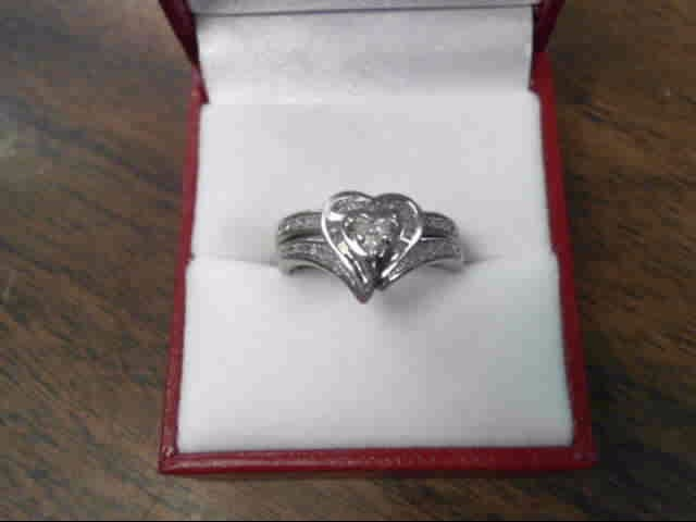 Lady's Silver-Diamond Ring 33 Diamonds .39 Carat T.W. 925 Silver 2.9dwt