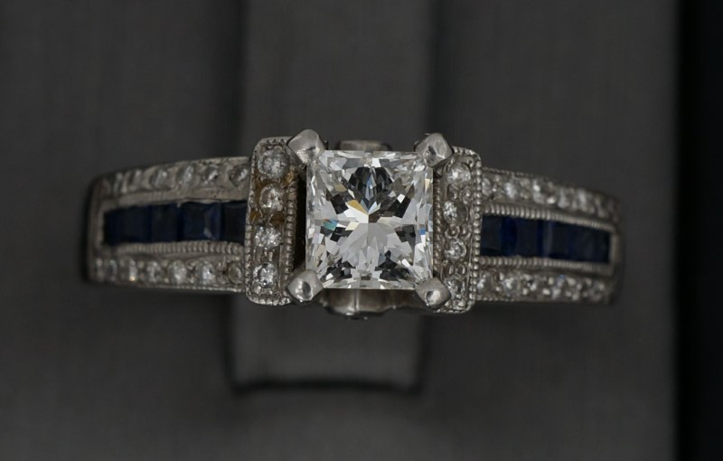 Lady's Diamond Engagement Ring 29 Diamonds .91 Carat T.W. 14K White Gold