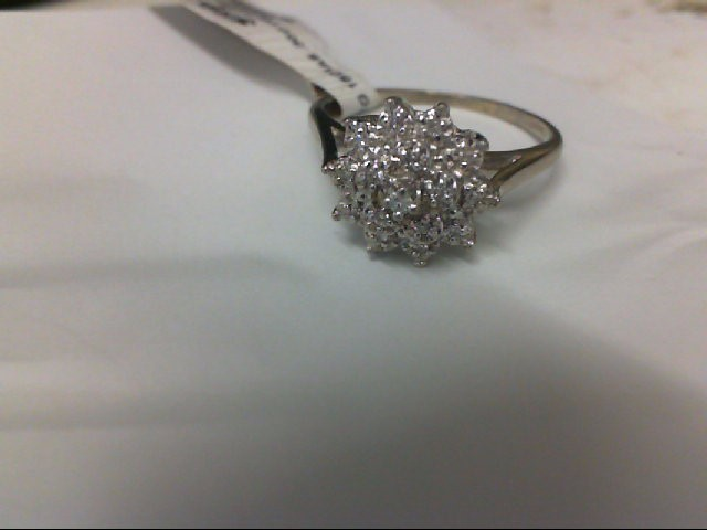 Lady's Diamond Cluster Ring 15 Diamonds .30 Carat T.W. 10K White Gold 2.8g