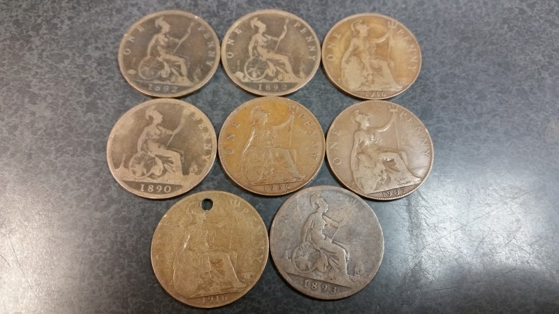 English Large One Cent Lot - 1892 x2 / 1916 x2 / 1890 / 1907 / 1893 / 1936