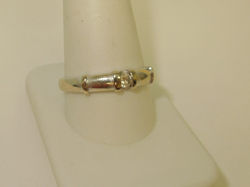 Synthetic Cubic Zirconia Gent's Stone Ring 14K White Gold 3.6g Size:12