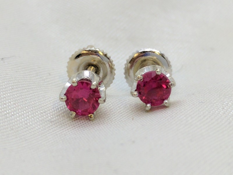 Pink Tourmaline Gold-Stone Earrings 14K White Gold 1.6g