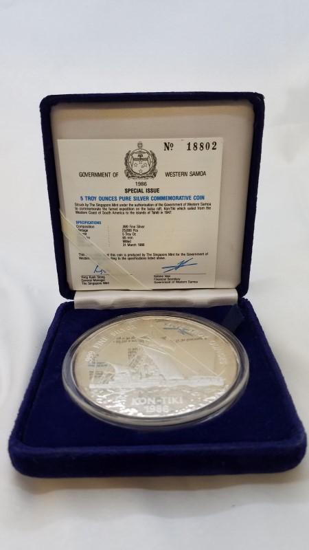 SINGAPORE MINT Silver Coin 1986 5 OZ SILVER 25 TALA KON-TIKI PROOF