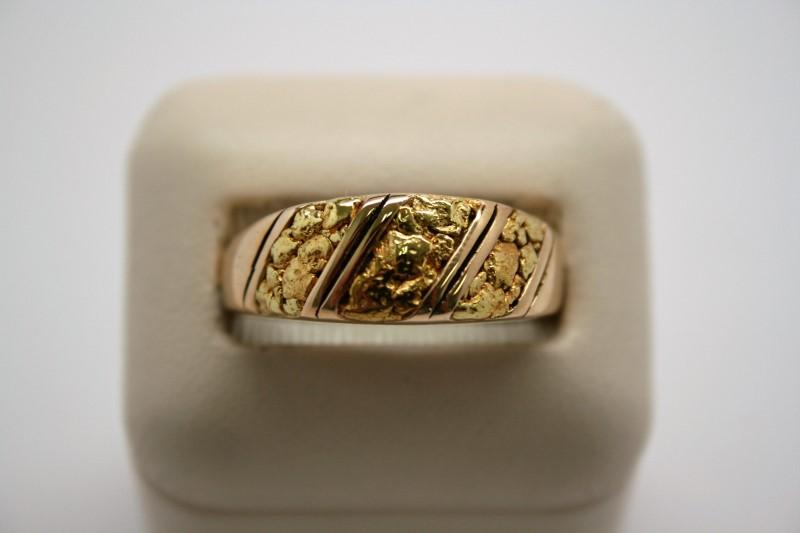 GENT'S DIAMOND NUGGET STYLE RING 14K/24K GOLD