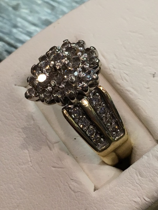 Lady's Diamond Cluster Ring 41 Diamonds .82 Carat T.W. 10K Yellow Gold 3.4dwt