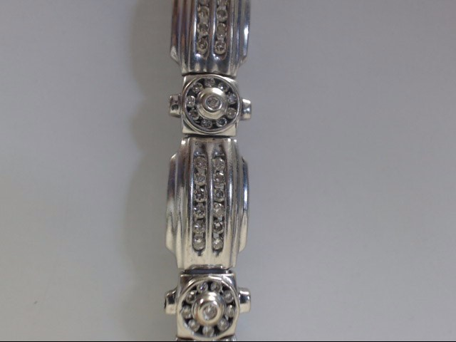 Gold-Diamond Bracelet 140 Diamonds 1.40 Carat T.W. 14K White Gold 26.55g