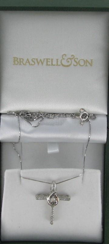 Diamond Necklace 20 Diamonds .48 Carat T.W. 10K White Gold 2.1dwt