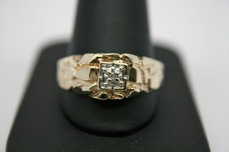 GENT'S NUGGET DIAMOND RING 14K YELLOW GOLD