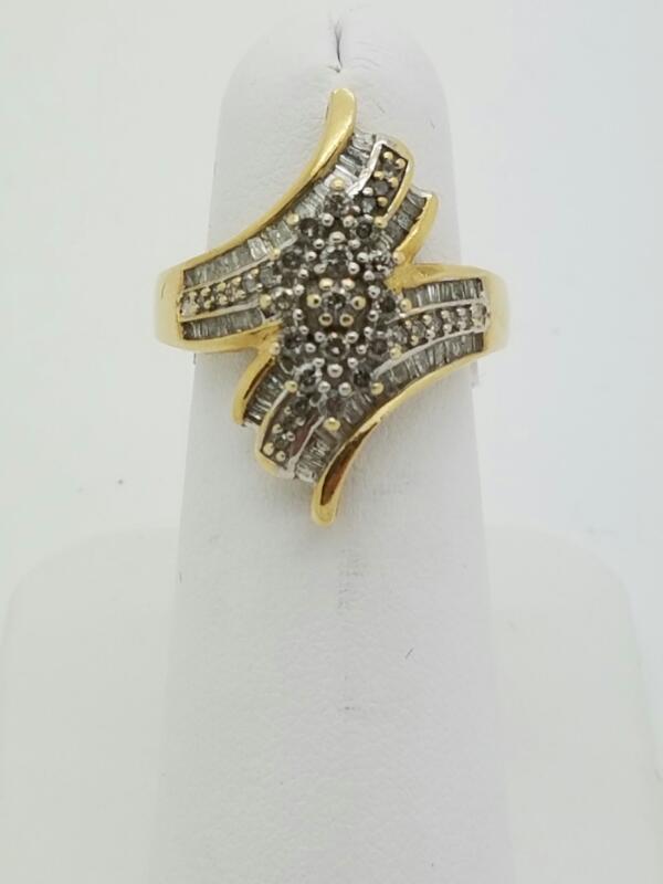 DIAMOND Lady's Diamond Cluster Ring 70 Diamonds .70 Carat T.W. 10K Yellow Gold