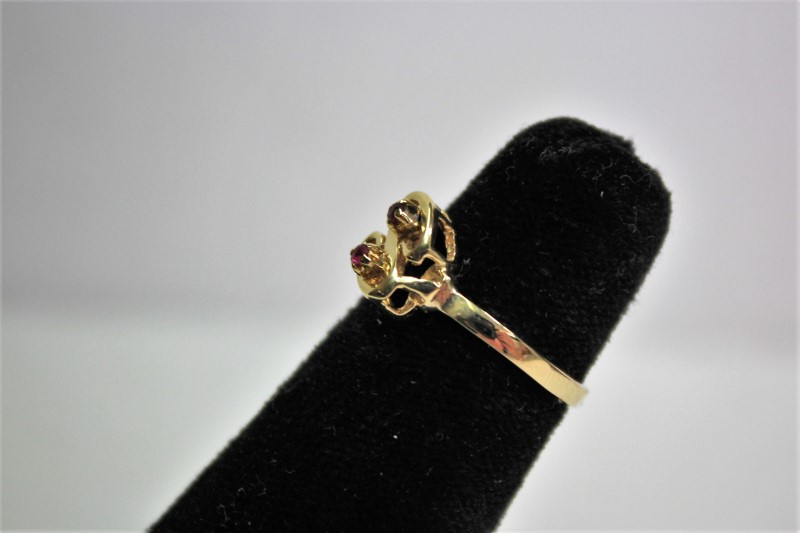 Ruby Lady's Stone Ring 14K Yellow Gold 2.1g Size:5.5
