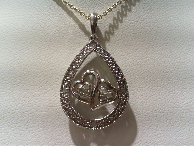 Silver-Diamond Pendant 10 Diamonds .10 Carat T.W. 925 Silver 3.8g