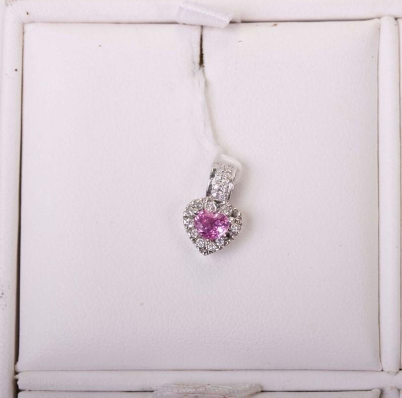 Pink Stone Lady's Stone & Diamond Ring 5 Diamonds .025 Carat T.W.
