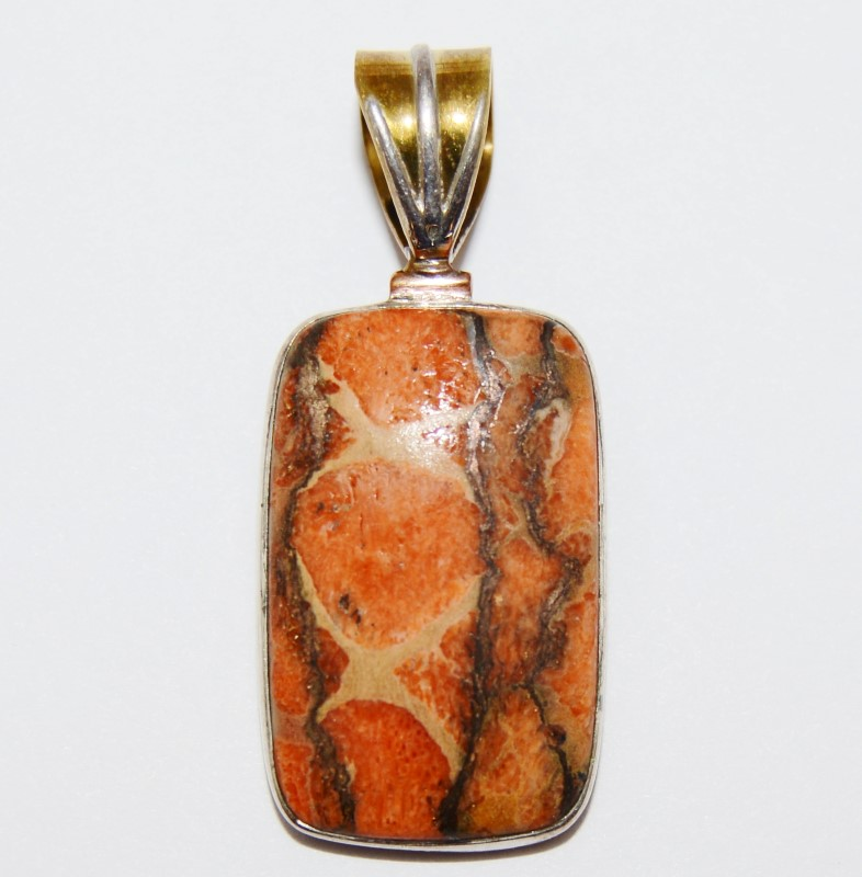 Sterling Silver Gold Toned Rectangular Cut Orange Turquoise Pendant