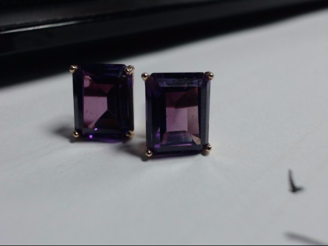 Purple Stone Gold-Stone Earrings 14K Yellow Gold 2.9g