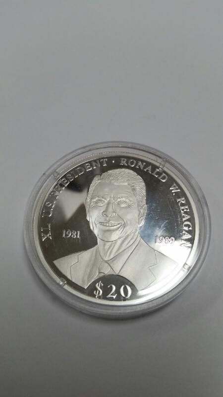 AMERICAN MINT REPUBLIC OF LIBERIA $20.00 SILVER COIN RONALD REAGAN