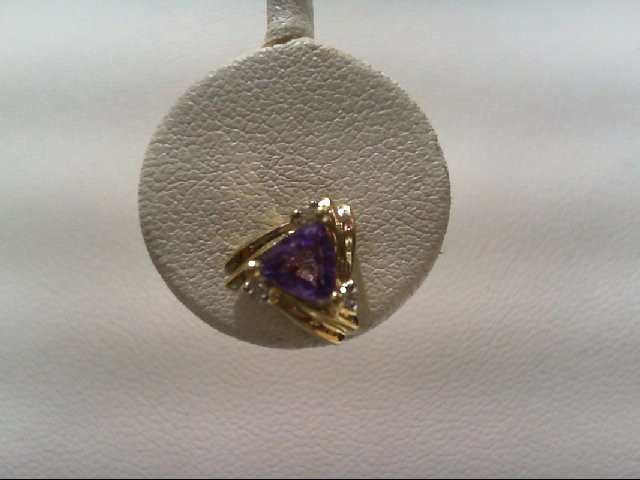 Amethyst Gold-Diamond & Stone Earrings 6 Diamonds .06 Carat T.W.