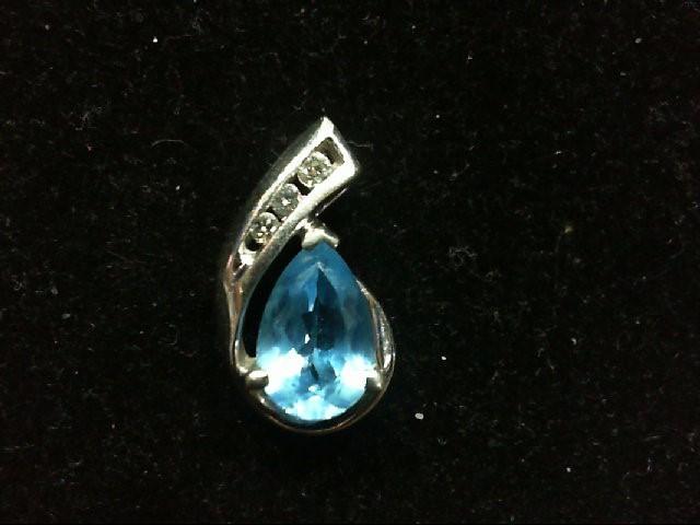 Blue Topaz Gold-Diamond & Stone Pendant 3 Diamonds .08 Carat T.W.
