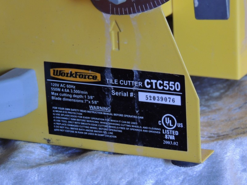 "WORKFORCE CTC-550 TILE SAW 7"" - 3/4 HP"