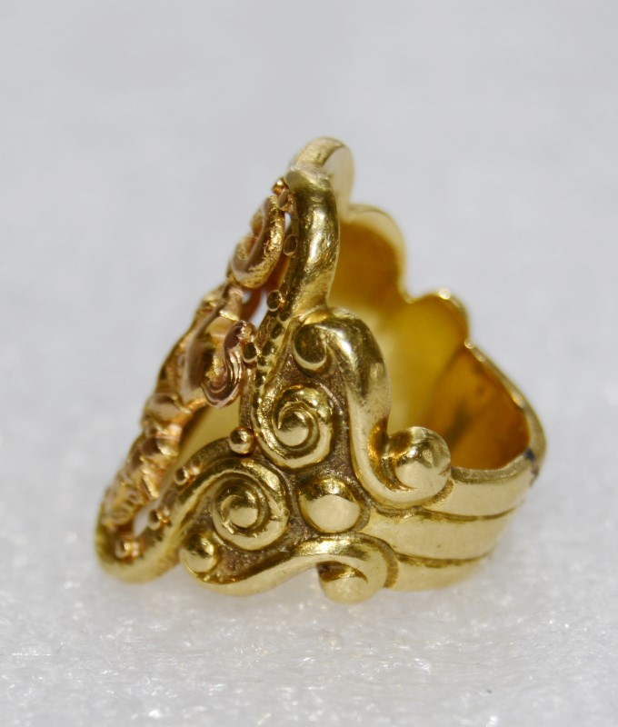 18k Yellow Gold Vintage Unisex Gold Ring Size:6.8