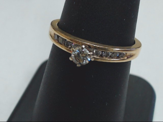 Lady's Diamond Engagement Ring 9 Diamonds .23 Carat T.W. 14K Yellow Gold 2.6g
