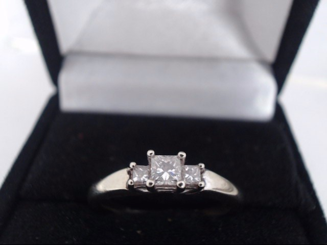 Lady's Diamond Solitaire Ring 3 Diamonds .54 Carat T.W. 14K White Gold 3.2g