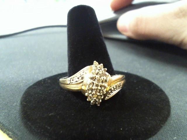 Lady's Diamond Cluster Ring 27 Diamonds .54 Carat T.W. 14K Yellow Gold 4g
