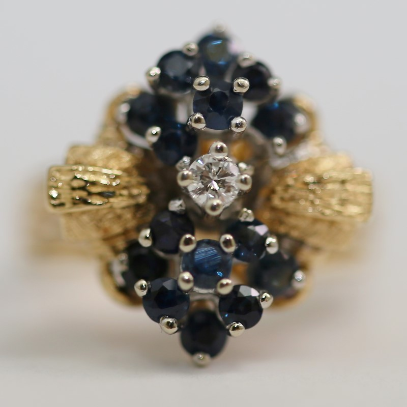 Diamond & Sapphire Cluster Ring 14K Size 8.25